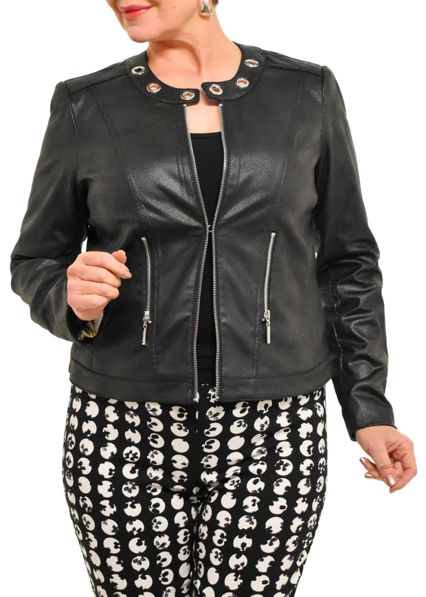 JOSEPH RIBKOFF – RING ACCENT MOTO JACKET