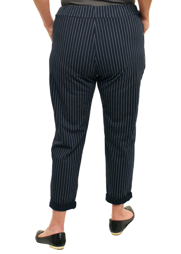 ROLLED CUFF JOGGER PLUS - PINSTRIPE NAVY