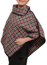 PLAID PONCHO W/DETAIL BUTTON - RED PLAID