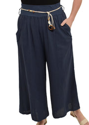 LINEN PANT WITH ROPE BELT - NAVY