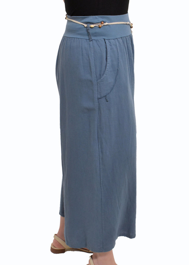 LINEN PANT WITH ROPE BELT - BLUE JEAN