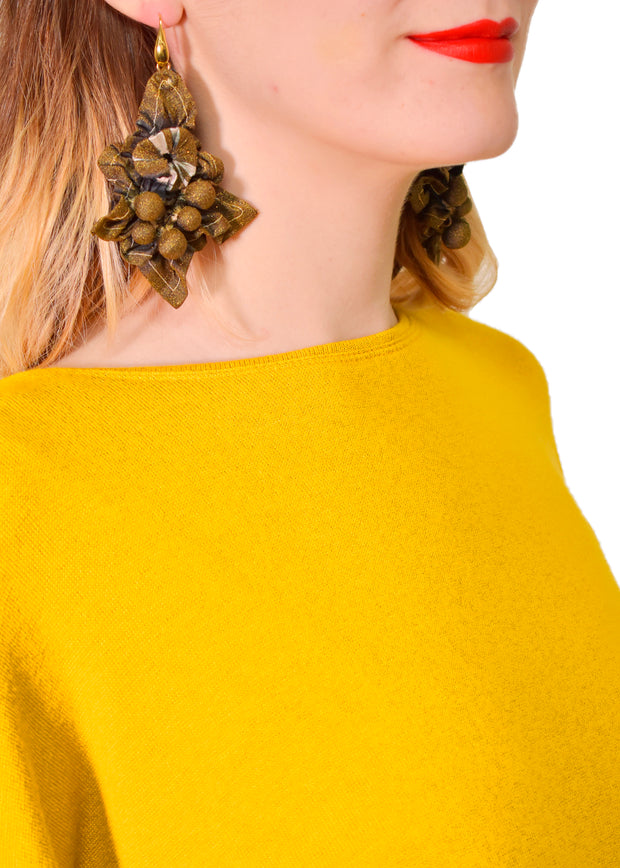 EBA - FLIRTY SILK EARRINGS  - KHAKI BLACK GOLD -1053395