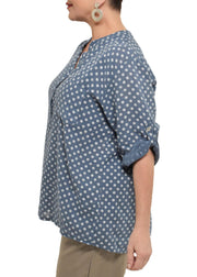 POLKA DOT HALF PLACKET TOP