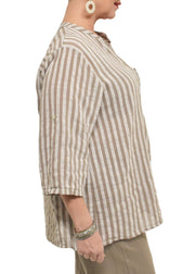 STRIPED HALF PLACKET TOP - TAUPE