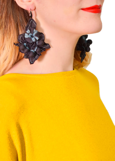 EBA - FLIRTY SILK EARRINGS  - DENIM BLACK -1053395