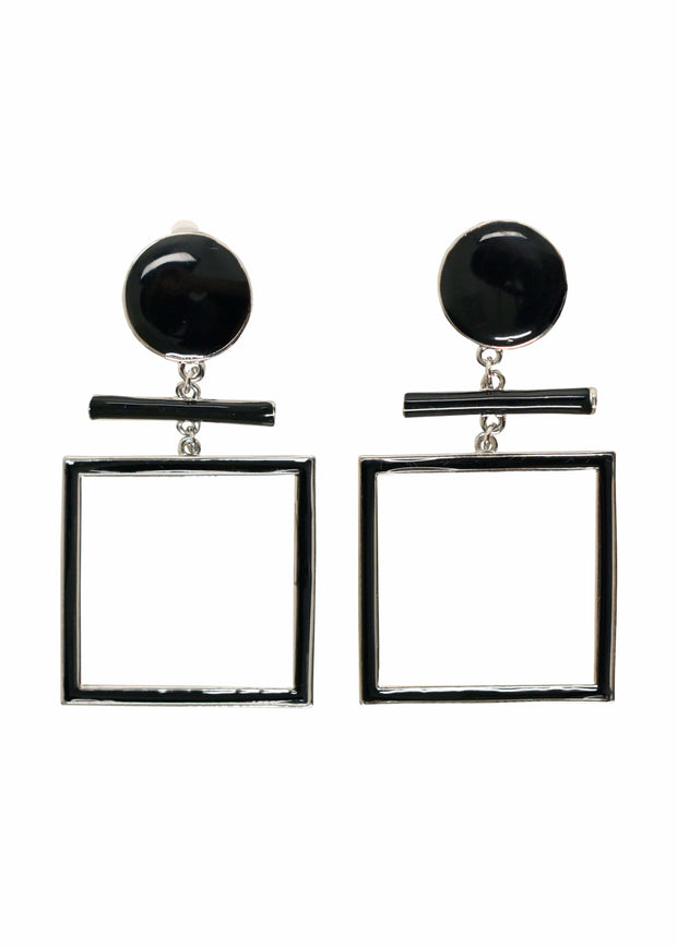 SQUARE DANGLE CLIP EARRINGS - SILVER