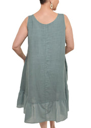 LINEN DRESS W/ RUFFLE
