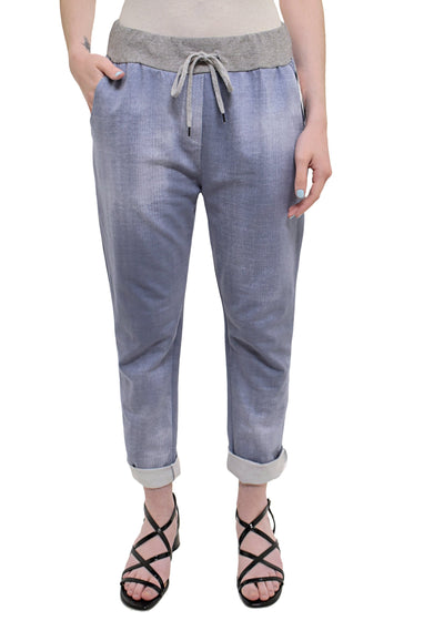 CATHERINE LILLYWHITES - ROLLED CUFF JOGGER - 1055155 - LIGHT BLUE DENIM LOOK