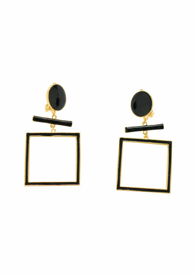 SQUARE DANGLE CLIP EARRINGS - GOLD