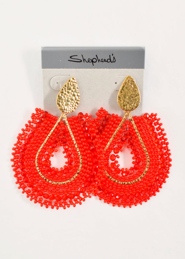 T JEWELS - FLAT DROP BEAD EARRING