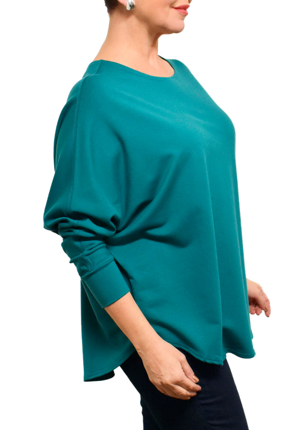 BAMBOO FRENCH BOXY TOP - PEACOCK