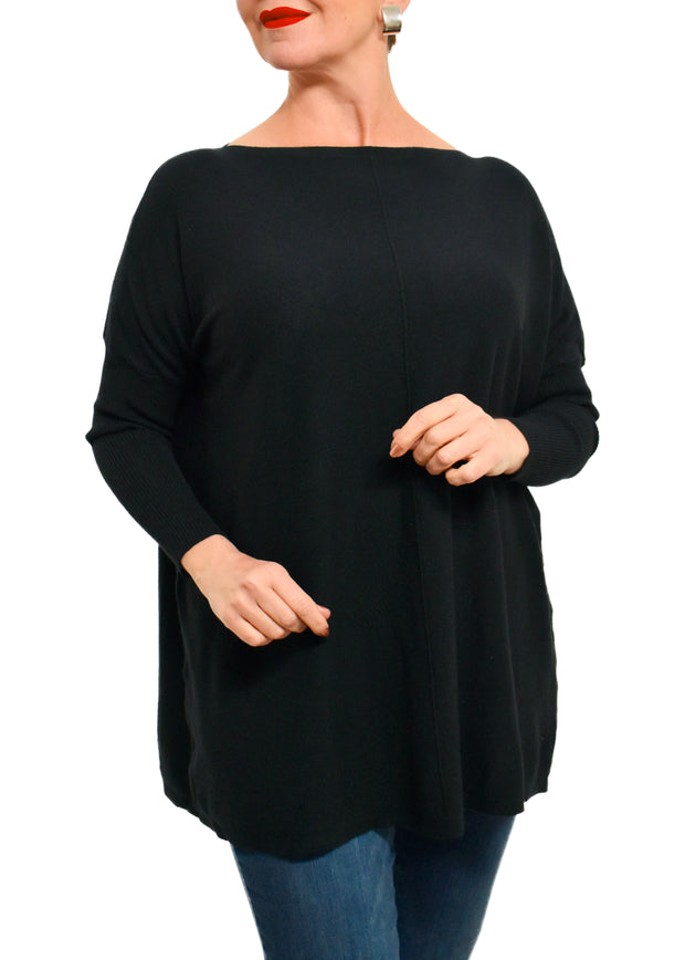 LONG BOXY KNIT TUNIC - BLACK