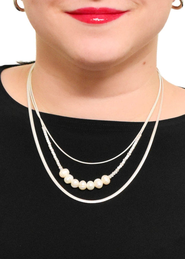 MERX - MULTI CHAIN PEARL ACCENT NECKLACE
