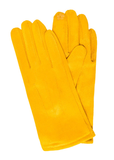 SUEDE SHORT GLOVES - MUSTARD