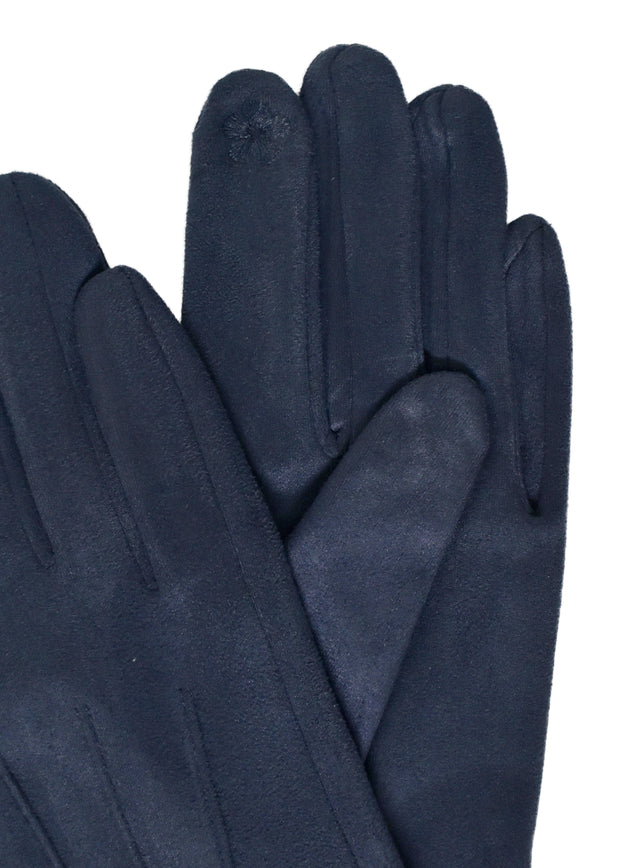 SUEDE SHORT GLOVES - NAVY