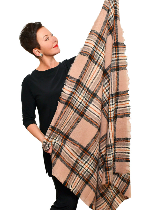 PLAID SQUARE BLANKET SCARF