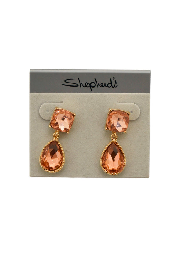 SMALL CRYSTAL DROP EARRINGS- ROSE GOLD- 1052717