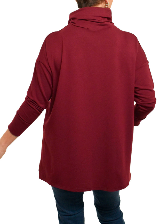 BAMBOO FRENCH TERRY COWL BOXY TUNIC - MERLOT