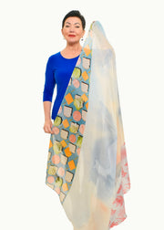 ECHO-GINGHAM SILK SCARF