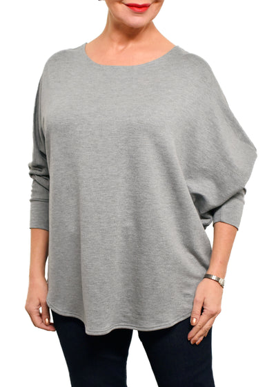 BAMBOO FRENCH BOXY TOP - MED. GREY
