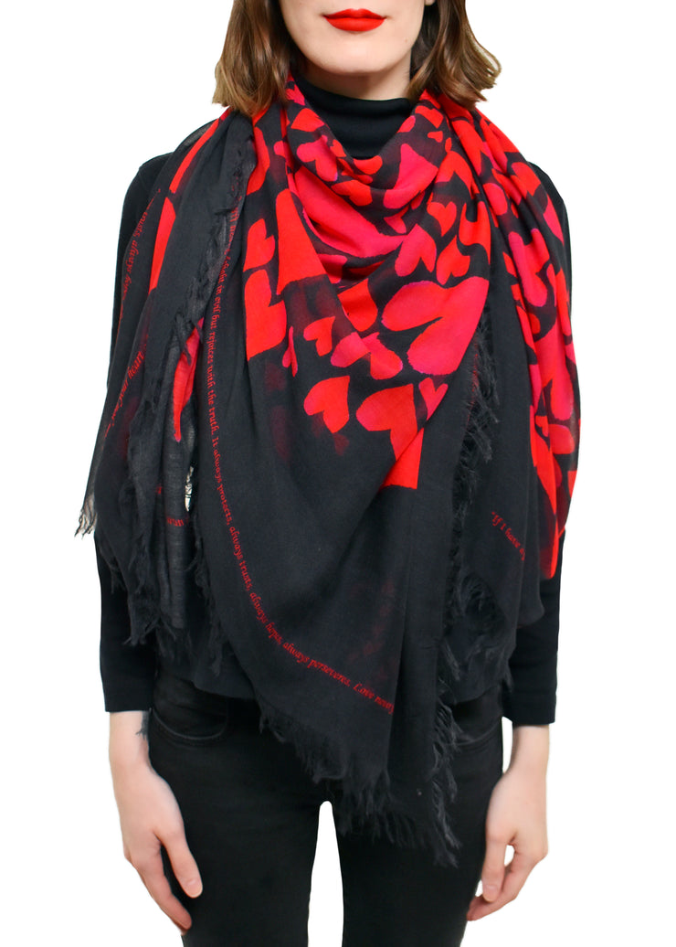 LOVE IS HEARTS SILK SCARF - LOVE'S PURE LIGHT