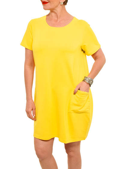 GILMOUR - BAMBOO SHORT SLEEVE DRESS WTH POCKET - SUNSHINE -  1056420