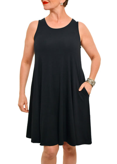 GILMOUR -BAMBOO SLEEVELESS A LINE DRESS -BLACK -1056419