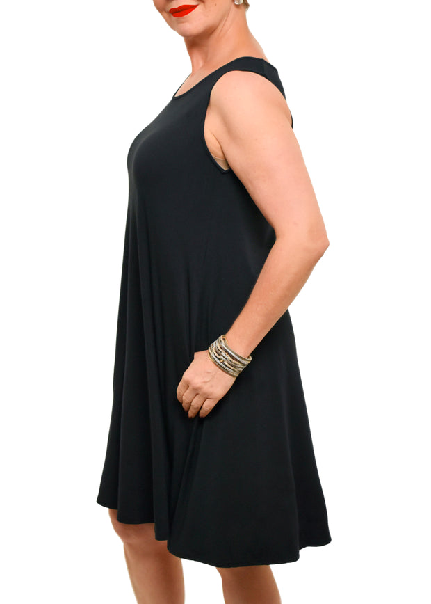 GILMOUR - BAMBOO SLEEVELESS A LINE DRESS -BLACK -1056419