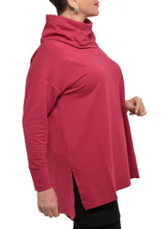 BAMBOO FRENCH TERRY COWL BOXY TUNIC - RASPBERRY
