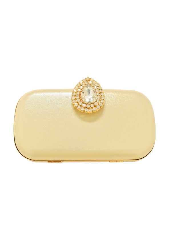 CLUTCH WITH CRYSTAL CLASP - GOLD - 1054273