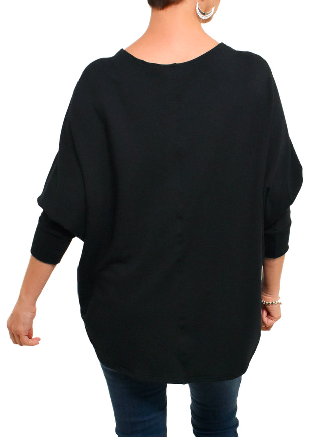 BAMBOO FRENCH BOXY TOP - BLACK