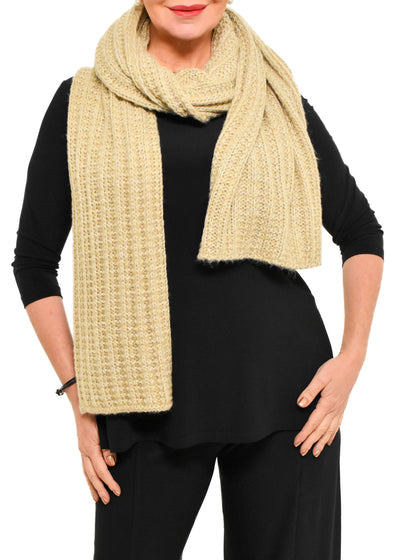 LONG KNIT SCARF - IVORY MELANGE
