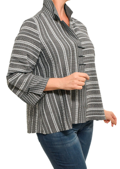 3 BUTTON STRIPED SHIRT- CHARCOAL