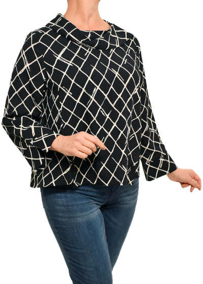 PULL ON DIAMOND CHECK TOP - BLACK