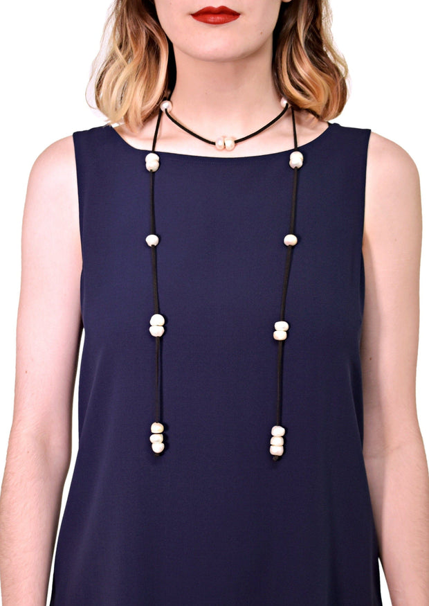 WANTED - LARIAT ULTRASUEDE NECKLACE - BLACK/WHITE