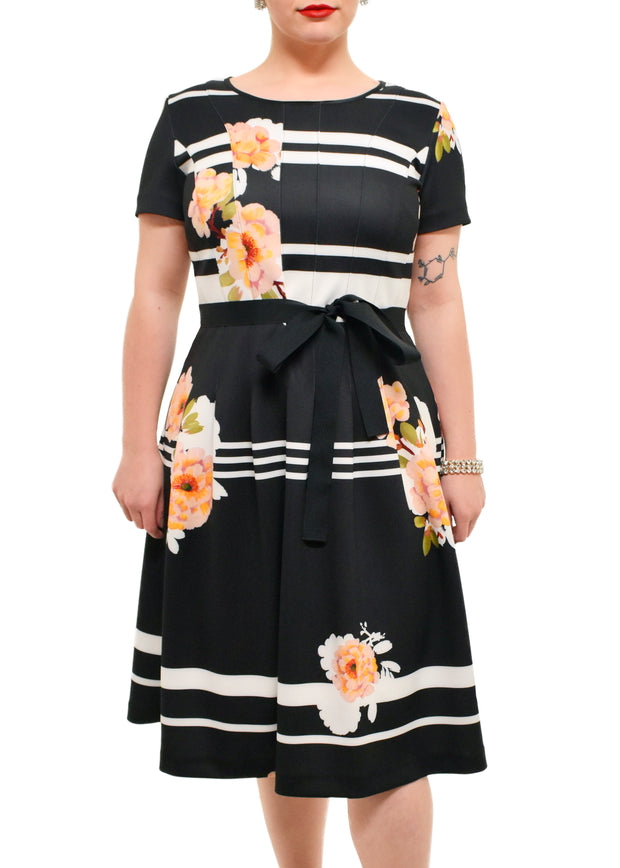 FLORAL STRIPE DRESS - TIA