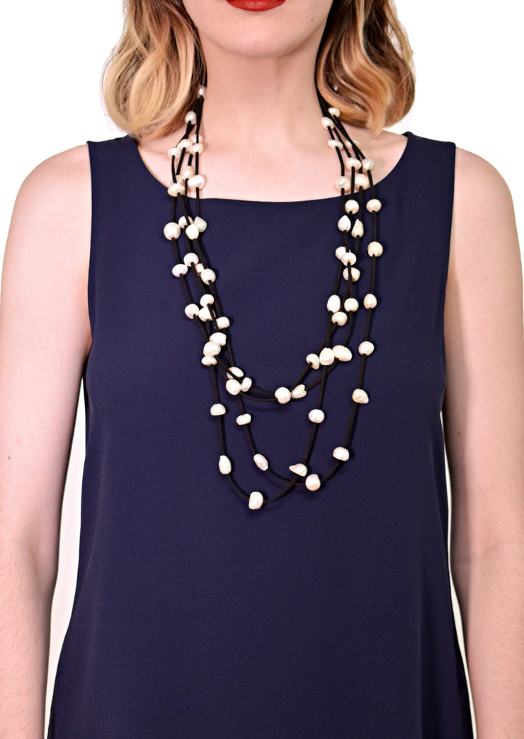 4 STRAND ULTRASUEDE LONG NECKLACE - WANTED