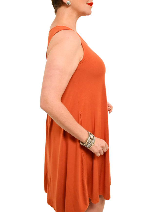 GILMOUR - BAMBOO SLEEVELESS A LINE DRESS - CARROT -1056419