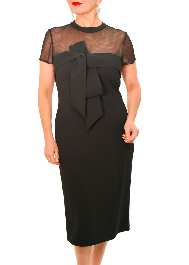 CREPE BOW MIDI MESH DRESS - JS GROUP