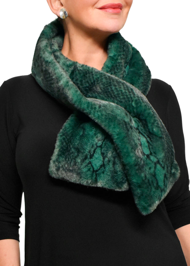 FAUX FUR SNAKE PRINTED SCARF - GREEN