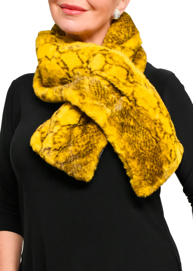 FAUX FUR SNAKE PRINTED SCARF - YELLOW