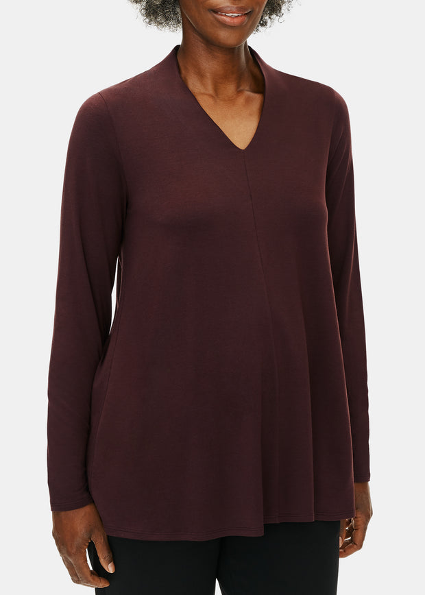 EILEEN FISHER - V NECK TOP - BROWNSTONE
