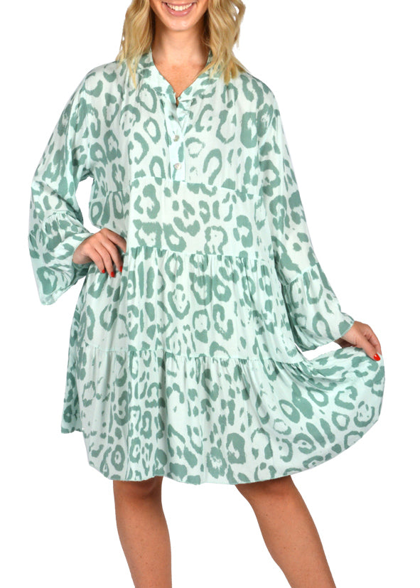 LEOPARD PRINT BABYDOLL TUNIC TOP -  GREEN