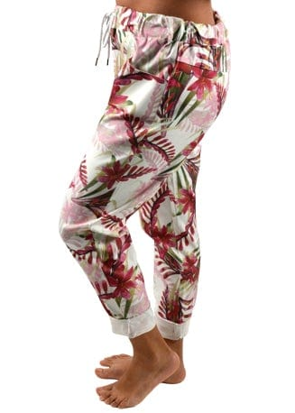 RED FLORAL PRINT JOGGER