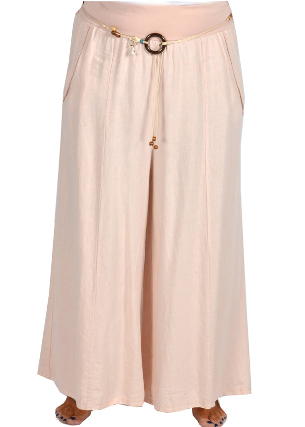 LINEN PANT WITH ROPE BELT - PINK