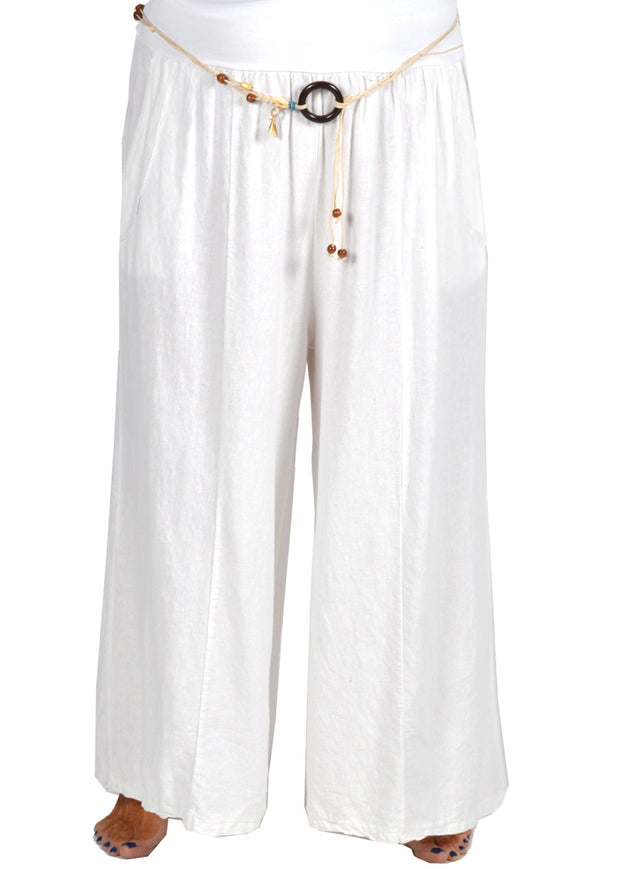 LINEN PANT WITH ROPE BELT - WHITE