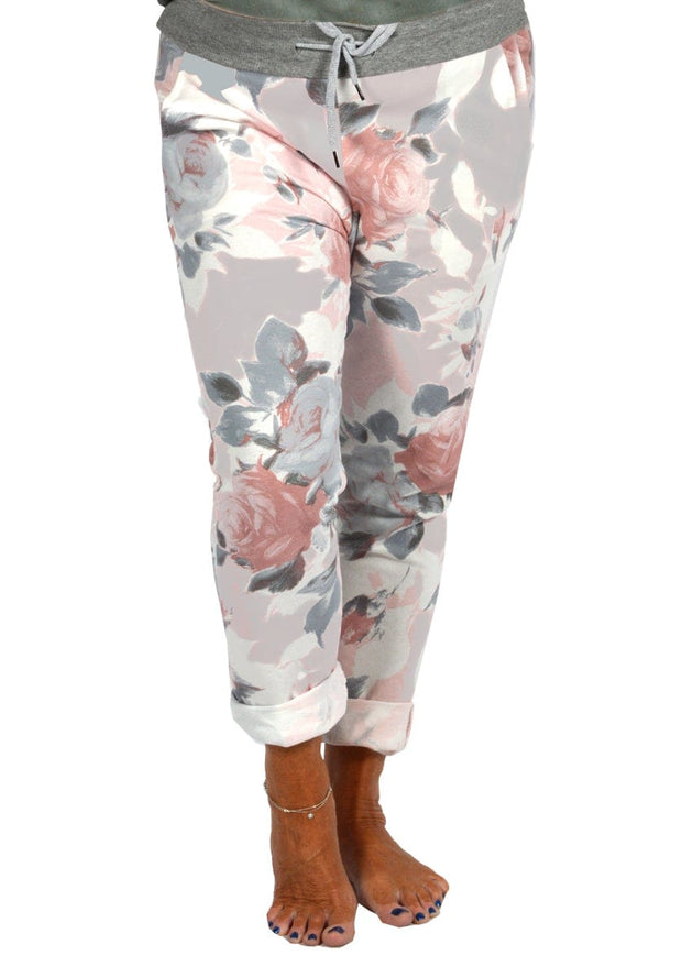 ROLLED CUFF PLUS JOGGERS - GREY PINK FLORAL