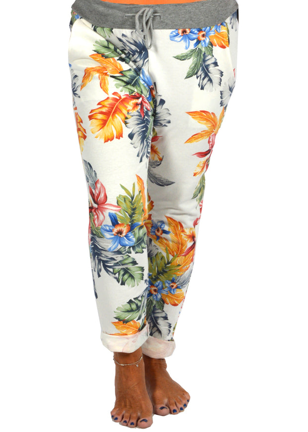 WHITE TROPICAL PRINT JOGGER