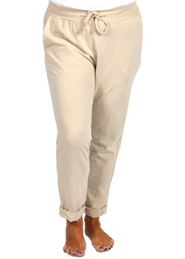 ROLLED CUFF JOGGER - BEIGE