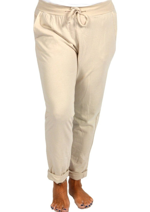 ROLLED CUFF PLUS JOGGERS - BEIGE